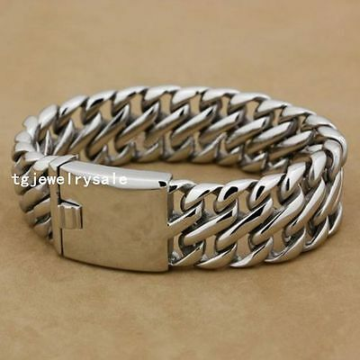 """26mm Cool Heavy Mens Fashion Silver Wide Stainless Steel Chain Bracelet 8.5"""""""