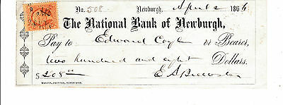 1866 THE NATIONAL  BANK of NEWBURGH, NEW YORK   WITH REVENUE