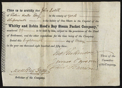 Whitby and Robin Hood's Bay Steam Packet Co., one share, 1853, vellum