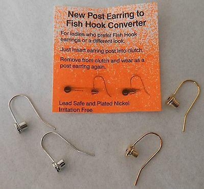 Earring Converters Convert Post to Fish Hook Reusable 2 pr Goldtone & Silvertone