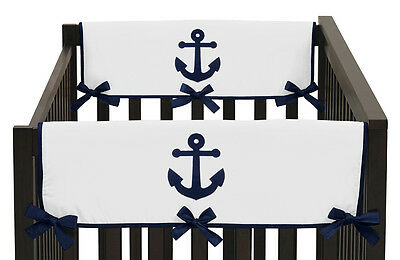 Navy Blue Nautical Anchor 2Pc Side Rail Guard Crib Cover Baby Teething Protector
