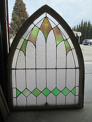~ Antique American Stained Glass Window Gothic 34X44 ~ Architectural Salvage