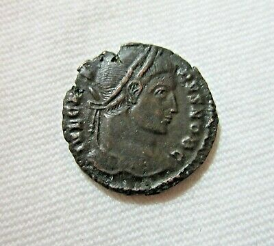 Crispus, Caesar. Ae Reduced Follis, Trier Mint, 323-324 Ad. Wreath Reverse.