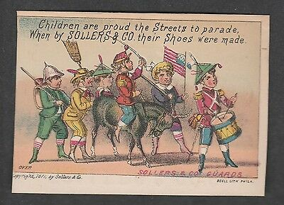 Victorian Trade Card Soller & Co. Shoes  Kids Parading Philadelphia