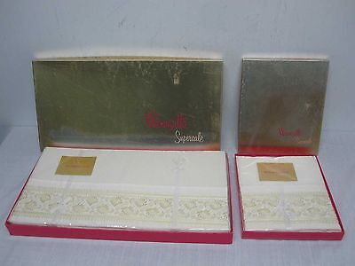 2 VTG WAMSUTTA SUPERCALE TWIN SHEETS w 2 P/CASES YELLOW EMBROIDERED PAISLEY MIP
