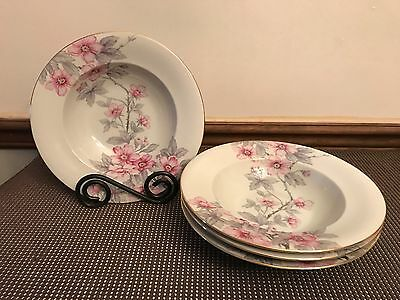 "Norleans Meito ""PINK RADIANCE"" ~ Set of 4 ~ Wide Rim Soup Bowls ~ 8 3/4"""