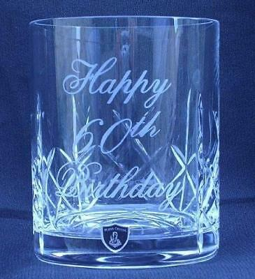 Engraved/Personalised 8oz Crystal Whisky Glass 40th/50th/60th Birthday gift