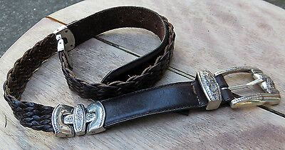 BRIGHTON Braided Brown Leather Belt w/Etched Silver Buckle & Belt Stations! Med