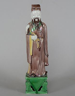 Chinese Porcelain Aubergine Green Yellow Enamel Figurine of an Imperial Man