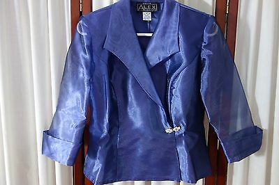 1980's Shimmering Violet Dressy JACKET by Alex Evenings- PSmall- VG-ELEGANT-SALE