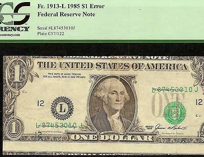 1985 $1 Misaligned Printing 3 Notes In 1 Error Currency Dollar Bill Money Pcgs
