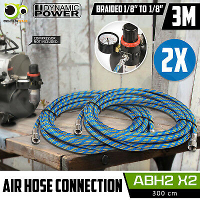 "2X 3M Air Hose Flexible Rubber Braided Air Brush Compressor 1/8"" Connection"