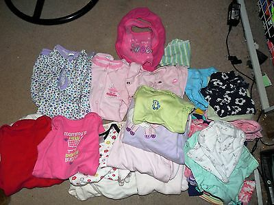 (25) Piece Baby Clothing Lot 0-3 Mths 6-9 Mths Pants Shorts Pajamas Shirt Bibs