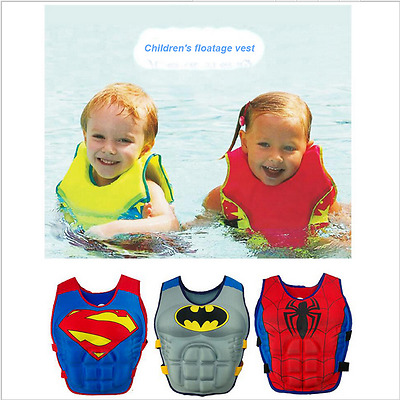 Kids Super Man Life Jacket Buoyancy Safety Sport Swimming Floating Swim Aid Vest