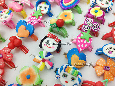 Wholesale Lots 10Pcs Colors Mixed Polymer Clay Children's Rings 16-19mm FREE