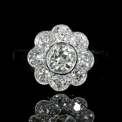 Antique Victorian Diamond Cluster Ring 2.80Ct Old Cushion Cut Diamond Rose Gold