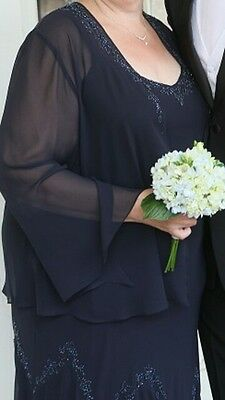 22 24 plus David's Bridal mother of the bride dress, navy full length, prom gown