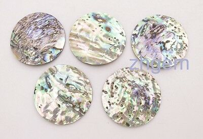 5 pcs 35mm top drilled Coin green rainbow abalone shell pendant earring making