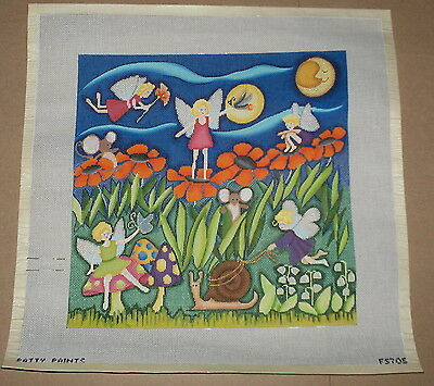 "Patty Paints ""Moon Fairies"" Handpainted Needlepoint Canvas - Mice Flowers Forest"