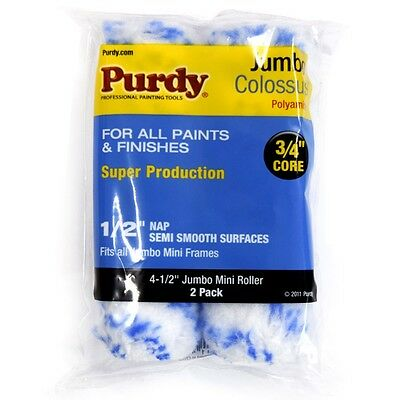 "Purdy Mini Jumbo Colossus Paint Roller Sleeves 4inch - 1/2"" Nap 3/4"" Core 2 Pack"