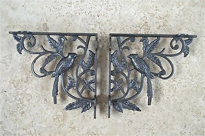A pair of solid cast iron exotic bird shelf brackets wall shelving bracket EX1