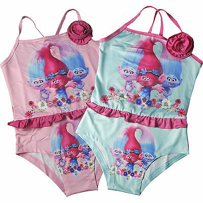 Girls Kids  Trolls Poppy Swimming Costume Swim Swimsuit Swimwear  2-8Y