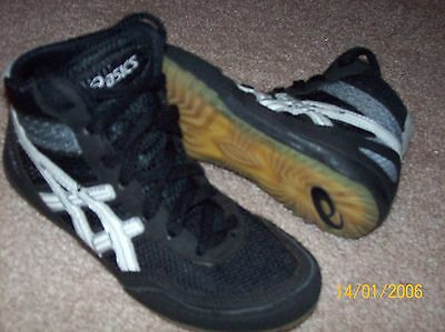 Youth Asics Matflex Black Leather Wrestling Shoes Size 1