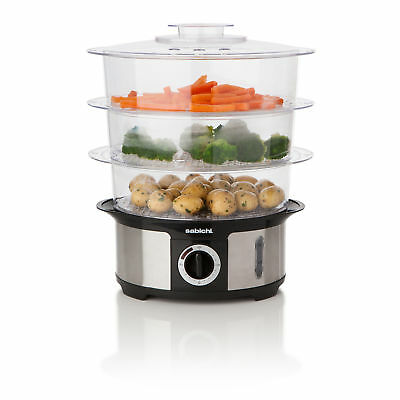 Sabichi 3 Tier Electric Steamer Multi Functional Healthy Food Slow Cooker 168429
