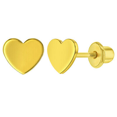 e67849ece87d4 18K GOLD PLATED Plain Heart Screw Back Safety Earrings Baby Kids Infants