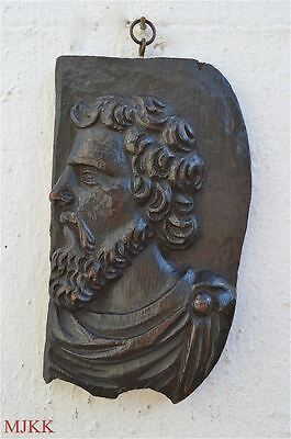 Original early antique hand carved oak panel bearded man classical c.1700