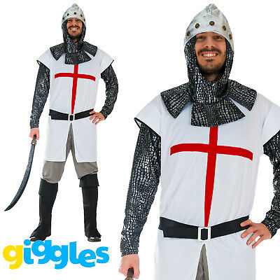 Mens Knight Costume St George Crusader Medieval Warrior Adult Fancy Dress Outfit  sc 1 st  PicClick UK & MENS KNIGHT COSTUME St George Crusader Medieval Warrior Adult Fancy ...