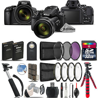 Nikon COOLPIX P900 Digital Camera + Spider Tripod + Monopad + EXT BAT - 32GB Kit