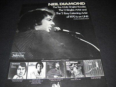 NEIL DIAMOND Top Male #2 and #2 of 1970 PROMO POSTER AD mint condition