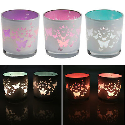 Set of 2 Fluttering Butterfly Glass Candle Holders – For Votive / Tea Lights
