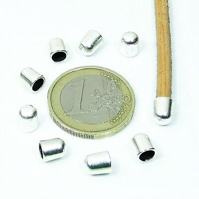 110 Terminals 6x5mm T621 - 1 Hole of 4mm Silver Tibetan End Caps Perline