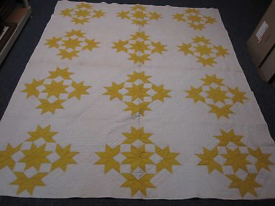 ANTIQUE HAND STITCHED QUILT WHITE w YELLOW PINWHEEL STARS 70x86 INTRICATE DETAIL
