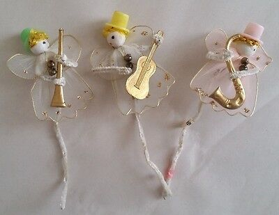 3 Vintage Chenille Stick Musician Angel Ornaments