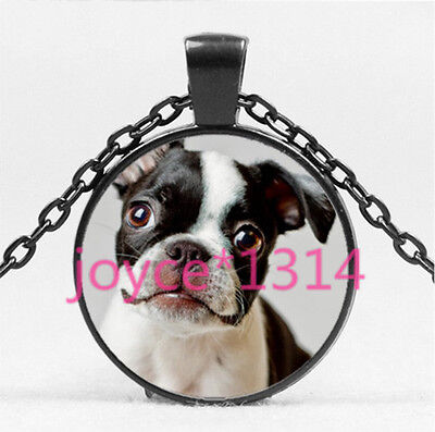 Vintage French bulldog Cabochon Black Glass Chain Pendant Necklace HS-4539