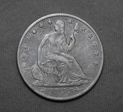 Solid Early Date 1855 O 90% Silver Liberty Seated Half Dollar Coin Arrows Date