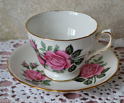 PINK ROSES - TEA CUP SAUCER, TEACUP SET, Royal Vale, bone china, England
