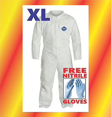 XL Tyvek Protective Coveralls Suit Hazmat Clean-Up Chemical FREE Nitrile Gloves