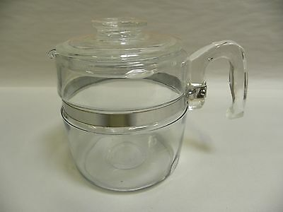 Vintage Pyrex Glass Flameware 6-Cup Percolator Coffee Pot With Lid (A5)