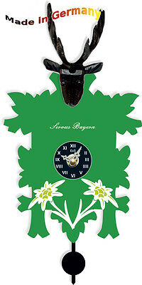 Green Black Forest Clock Signs with Quarz-Pendelwerk, with Hourly Cuckoo