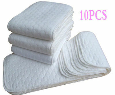 10 PCS New Reusable Baby Modern Cloth Diaper Nappy Liners insert 3 Layers Cotton