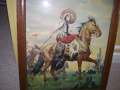 "South Western art ""Woman on Horseback"" Catano W."