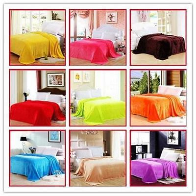 New Multiple Size Warm Microplush Throw Blanket Rug Plush Fleece Bed Quilt Sofa