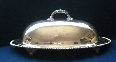 """18 1/2"""" Crescent Silverplate Oval Footed Meat Tray W Well & Fitted Meat Dome"""