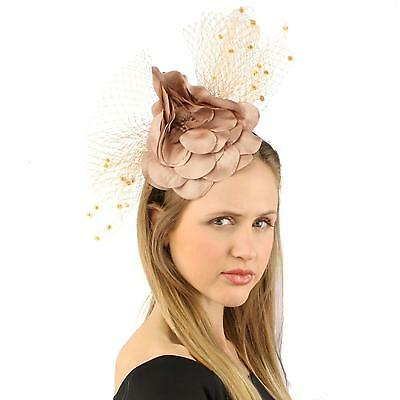 Fancy Standing Fishnet Floral Ribbon Headband Fascinator Millinery Church Taupe