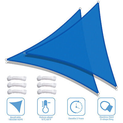 2pcs 11.5' Triangle Sun Shade Sail UV Block Patio Outdoor Blue Canopy Top Cover