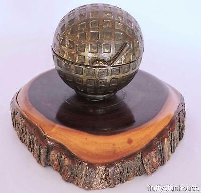 Mulga Wood Australia Brass Golf Ball Inkwell Rare Design Excellent Condition